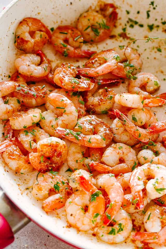 Pan Fried Lemon Herb Garlic Butter Shrimp.