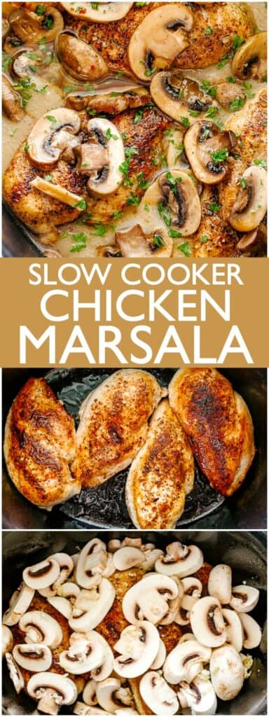 Slow Cooker Chicken Marsala Pin Image.