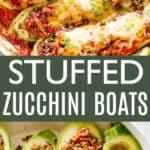 Stuffed Zucchini Boats Pin Image