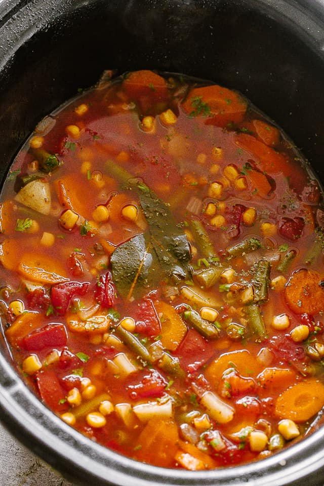 Vegetable Soup in the slow cooker.