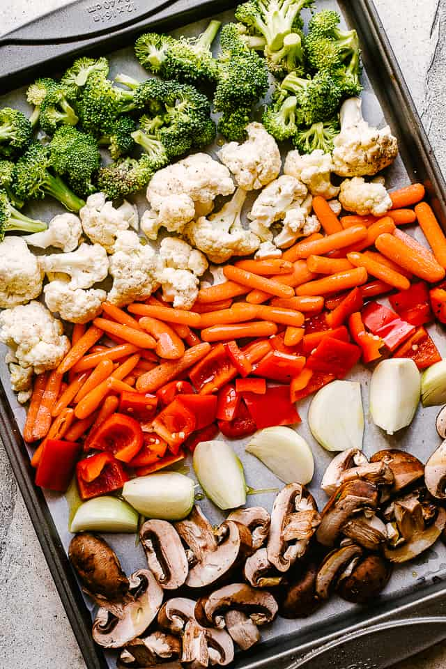 Vegetables on a sheet pan.