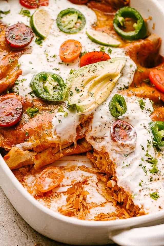 Chicken Enchiladas in a baking dish.