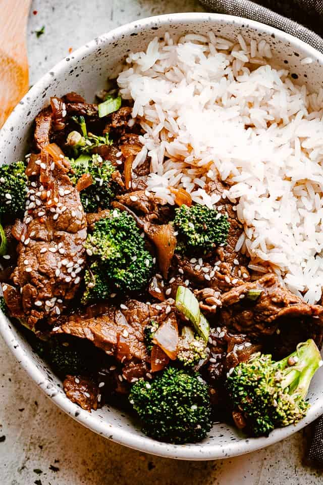 Instant Pot Beef and Broccoli served over rice.