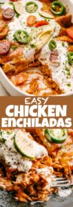 Easy Chicken Enchiladas Pin Image