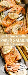garlic lemon butter baked salmon pin image