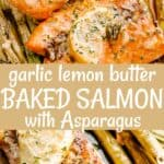 garlic lemon butter baked salmon pin image