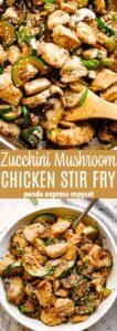 Zucchini Mushroom Chicken Stir Fry Pin Image