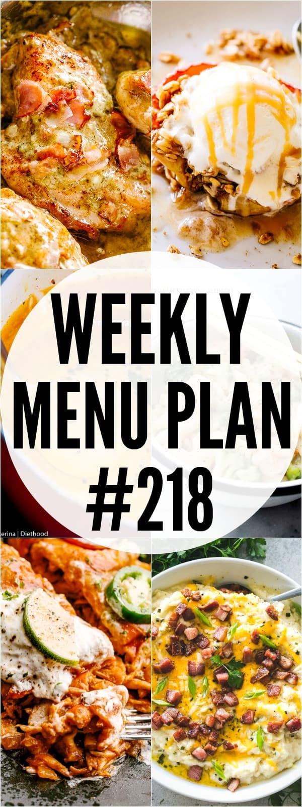Weekly Menu Plan 218 pin image