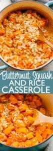 butternut squash rice casserole pin image
