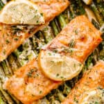 Oven Baked Salmon and Asparagus with Garlic Lemon Butter Sauce