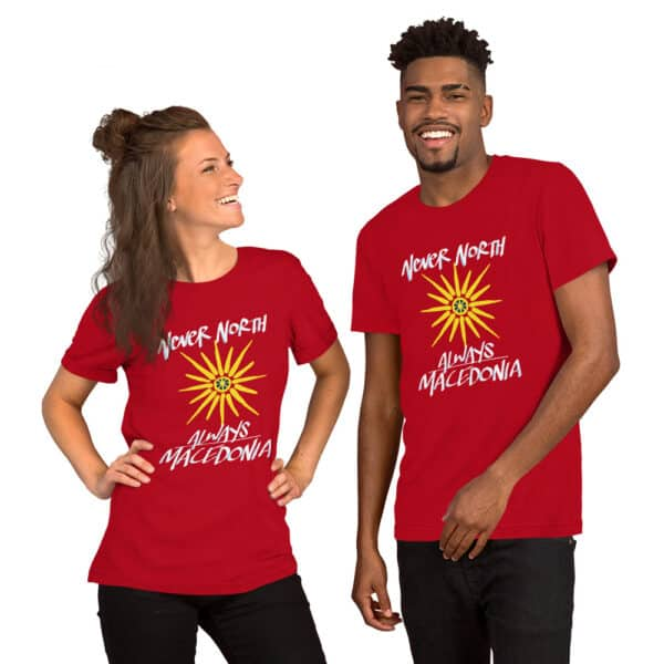 models wearing always macedonia red t-shirts