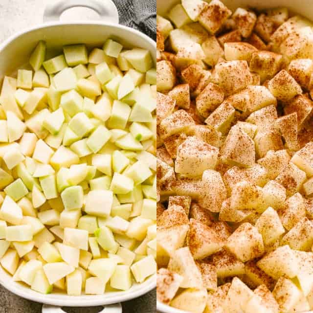 Dicing apples for Apple Crumble.
