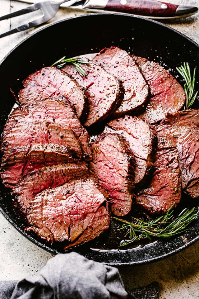 Cooked beef tenderloin in a skillet.