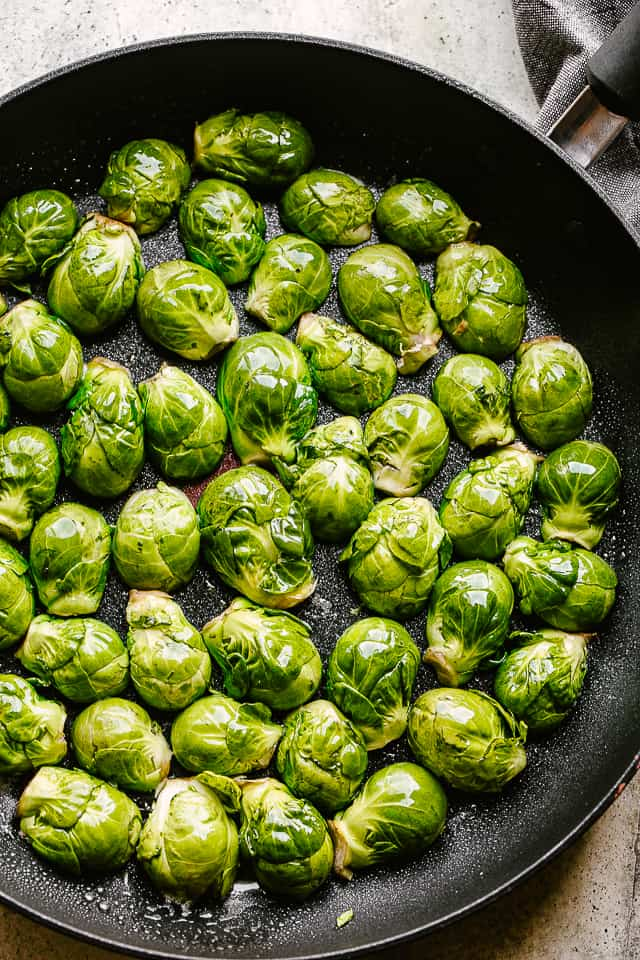 Brussels sprouts in pan.