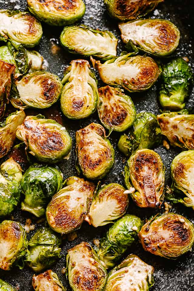 Pan fried brussels sprouts.