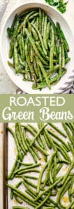 roasted green beans pin image