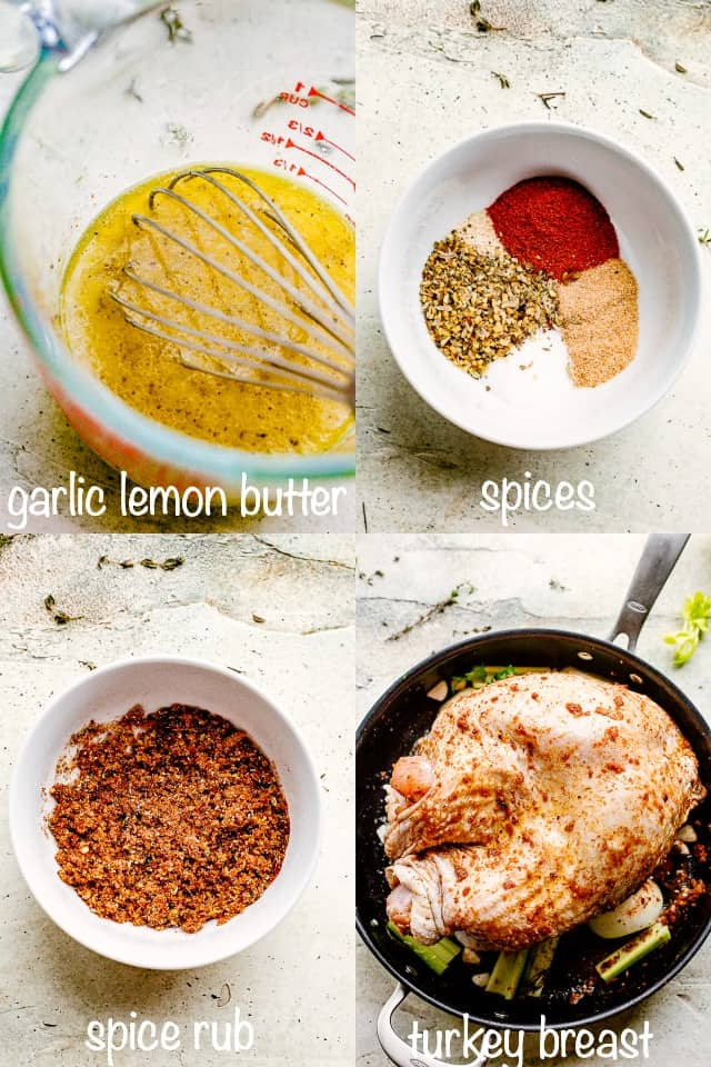 collage for lemon butter and spices rubbed on a turkey breast.