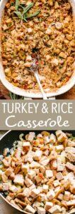 turkey rice casserole pin image