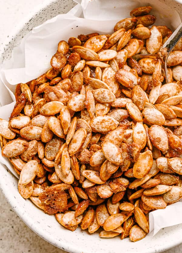 roasted cinnamon sugar pumpkin seeds