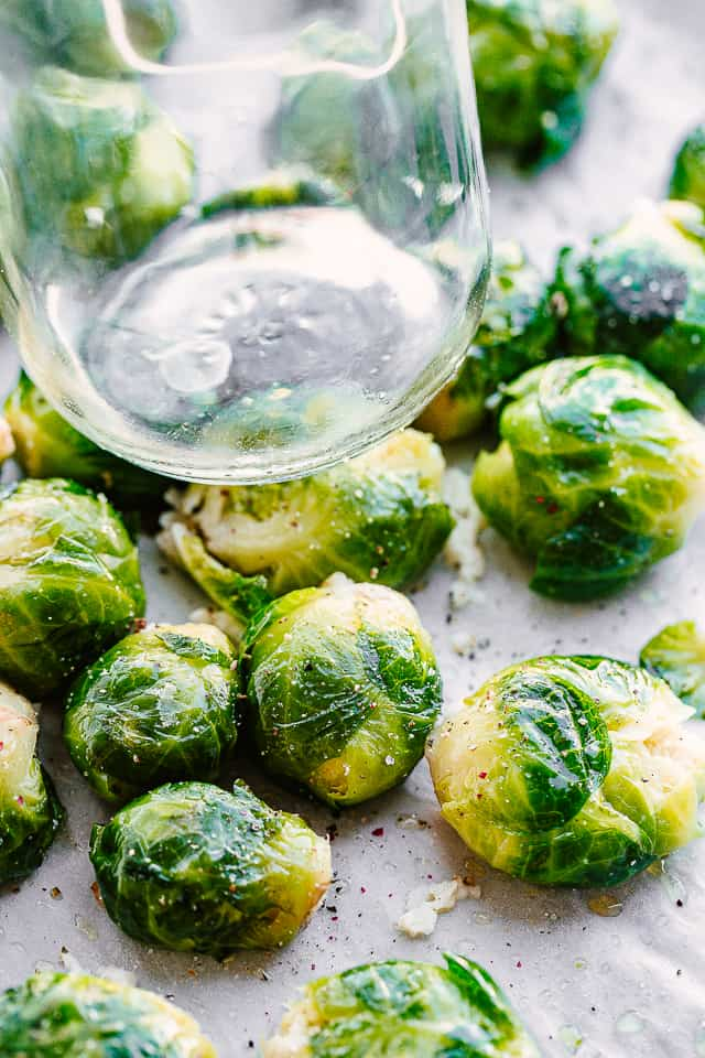 smashing brussel sprouts with a jar