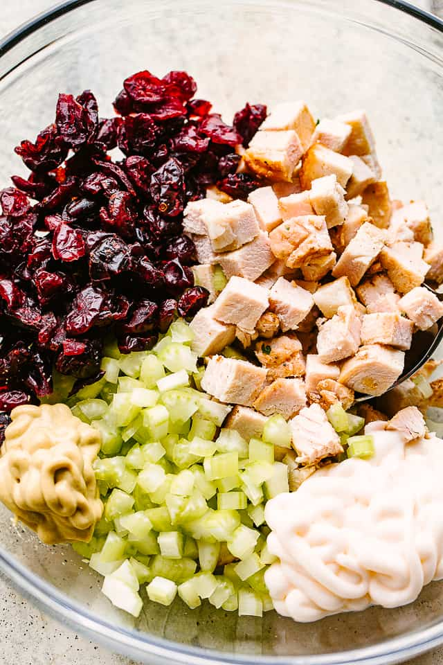 chopped ingredients for a turkey salad.