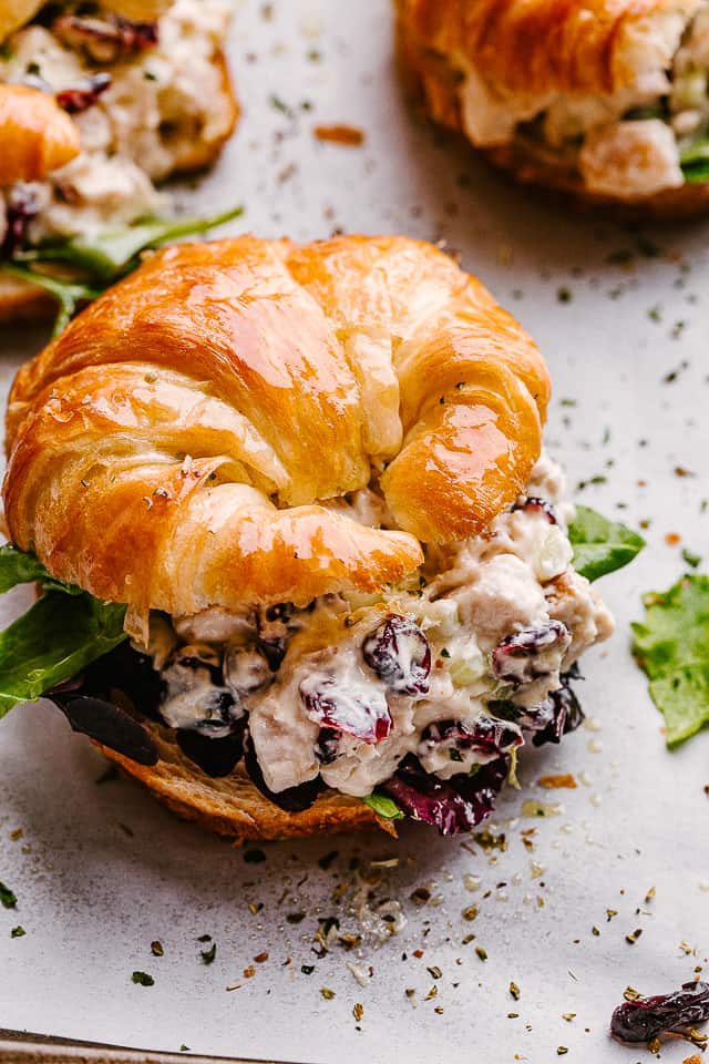 turkey salad in a croissant sandwich.