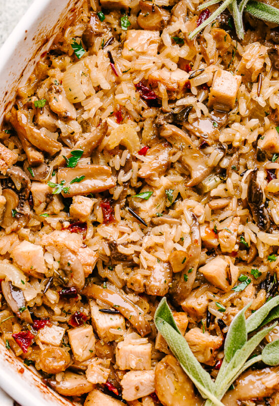 Baked turkey and rice casserole.