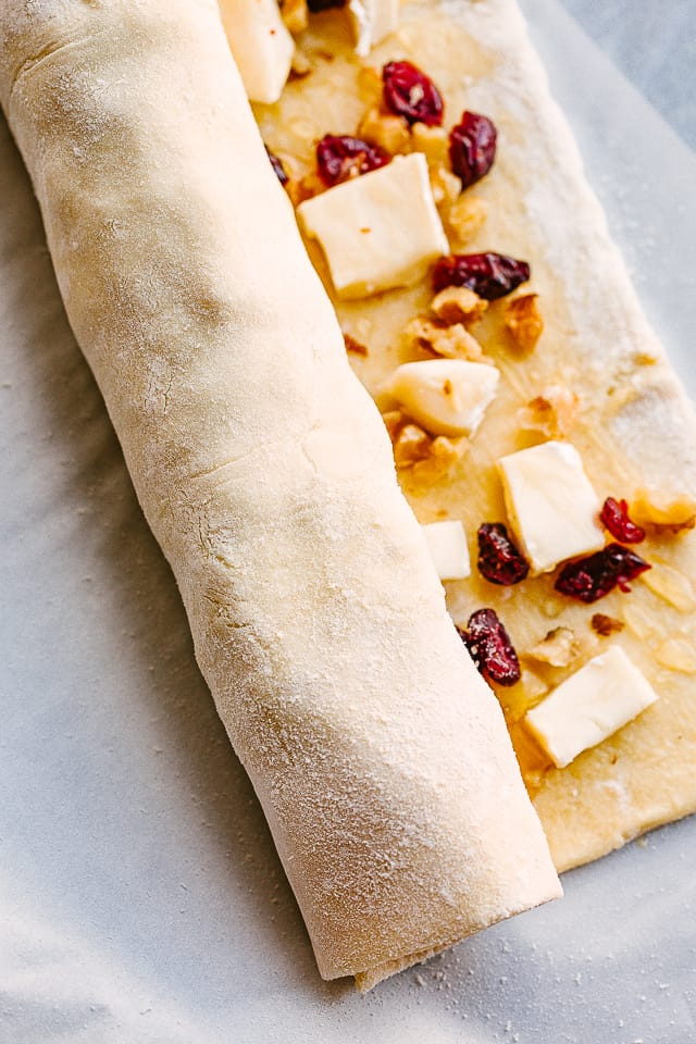 rolling up puff pastry