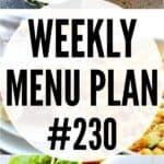weekly menu plan 230 pin image