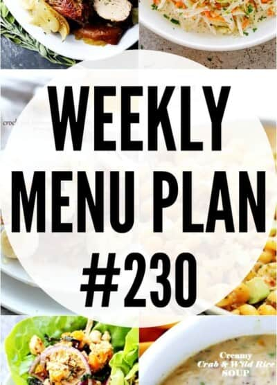 weekly menu plan 230 pin image