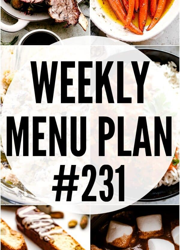 weekly menu plan 231 pin image