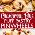 cranberry and brie puff pastry wheels pinterest image
