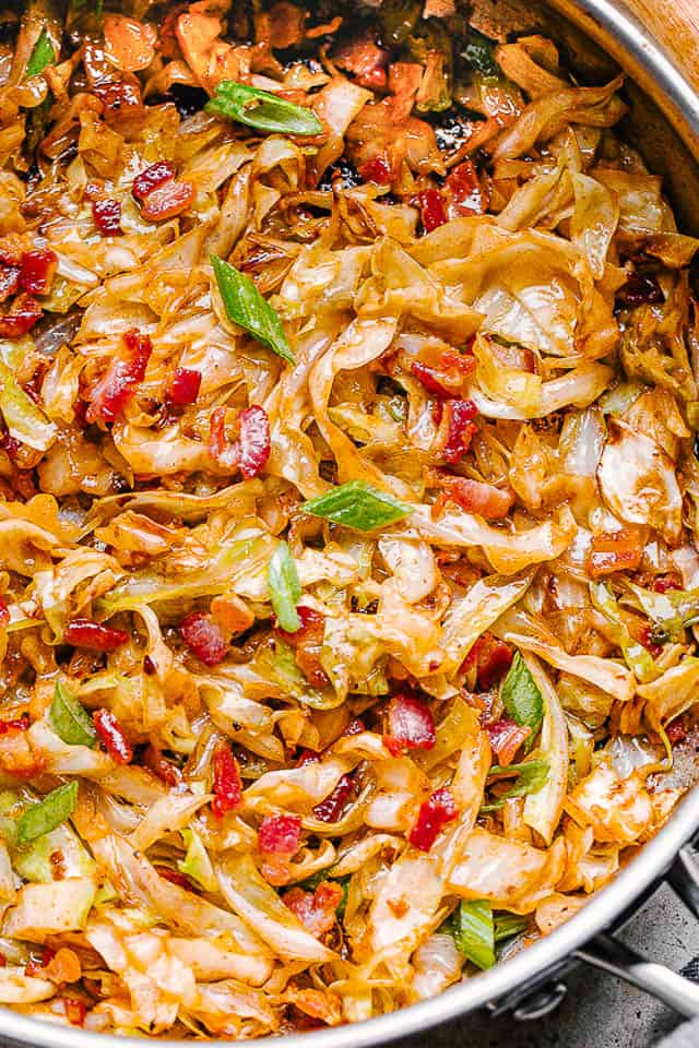fried cabbage in a skillet