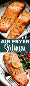 air fryer salmon pin image