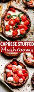 caprese stuffed mushrooms pin image
