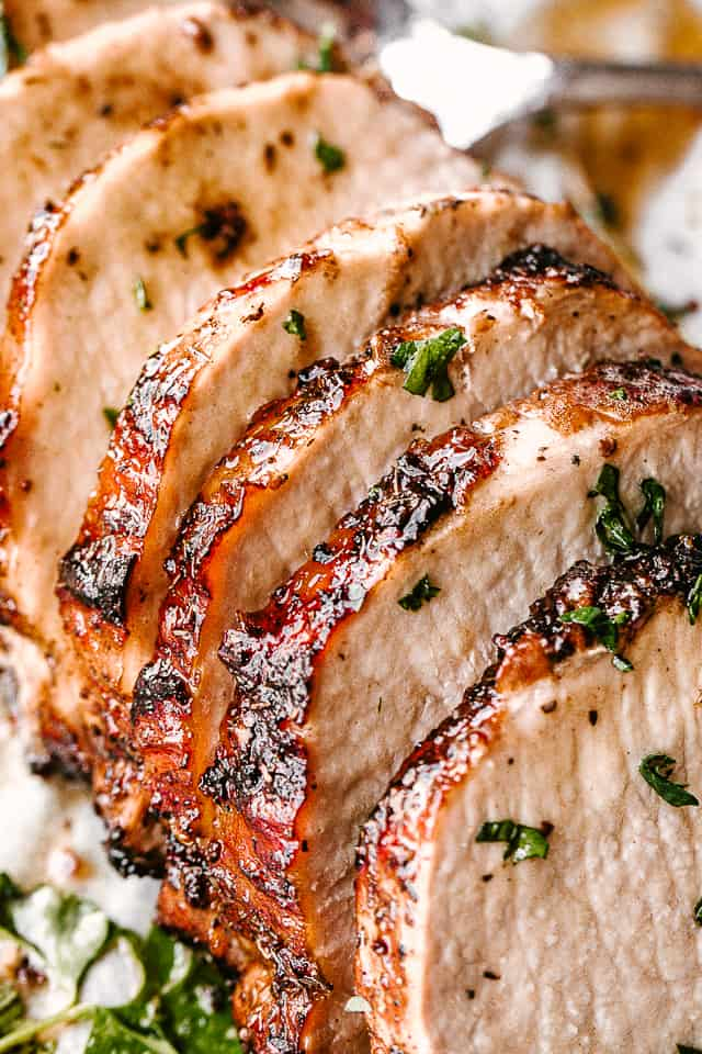 Completed and sliced garlic balsamic pork loin