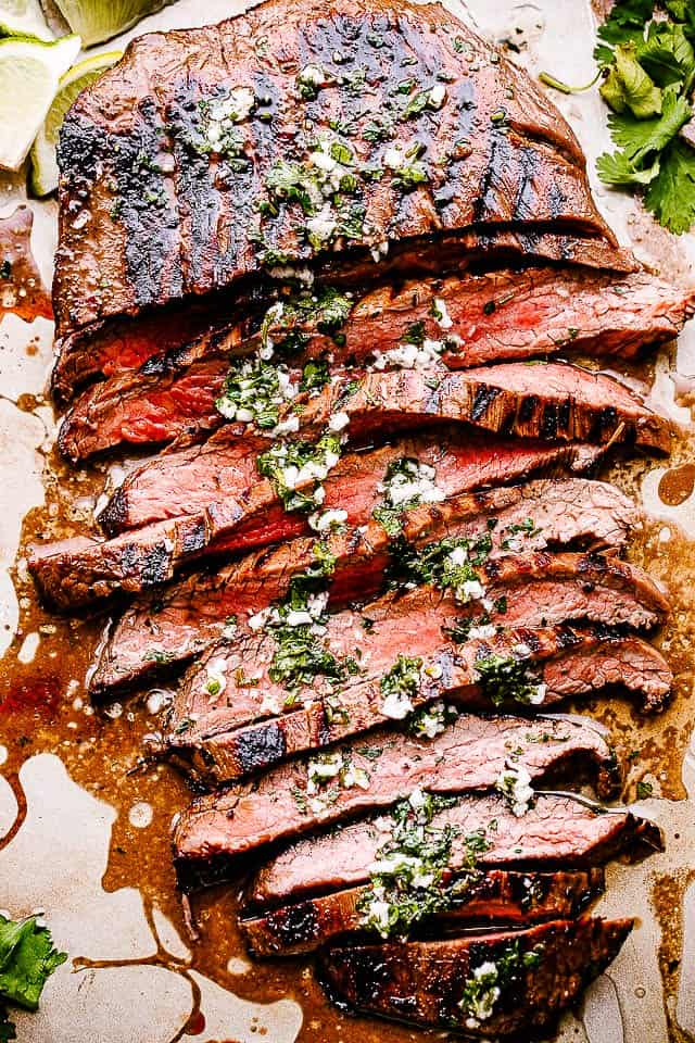 Flank steak slices