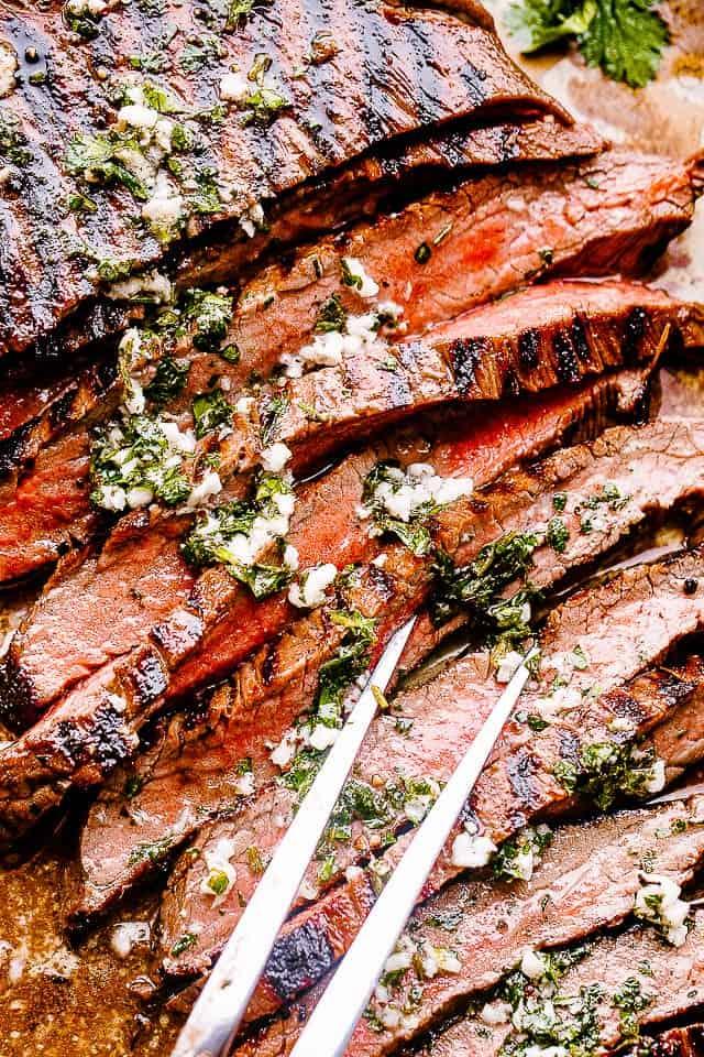 large fork with carne asada