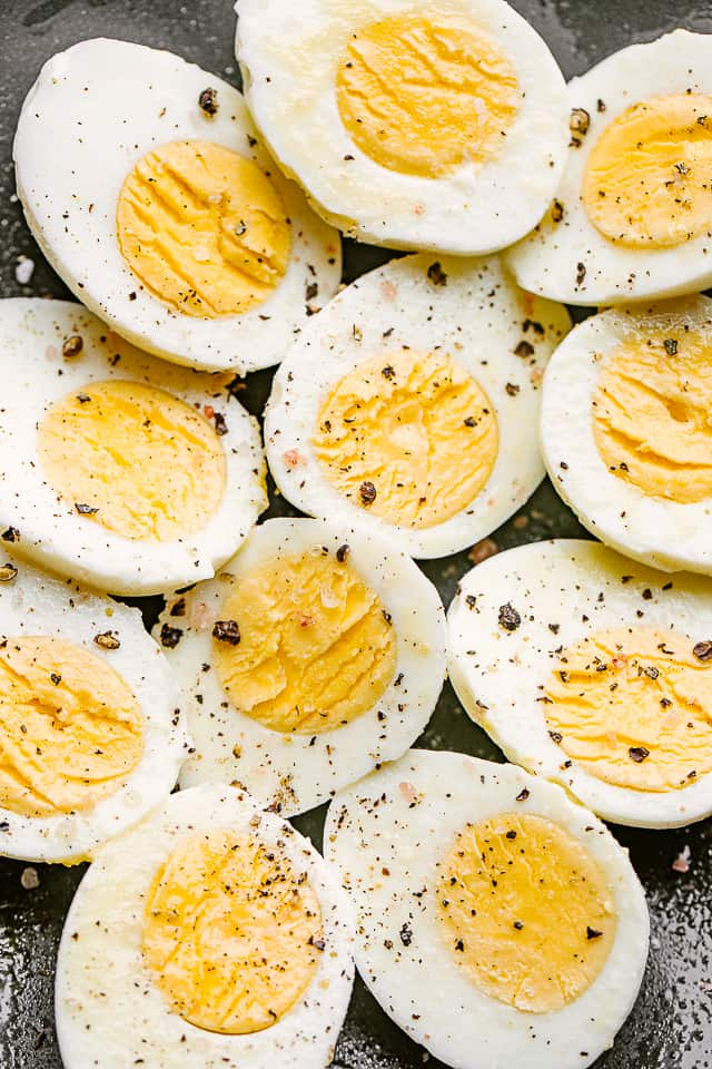 Plate of hard boiled eggs