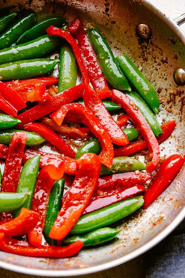 Skillet with stir fried veggies