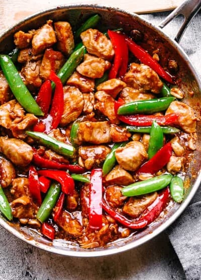Skillet of Kung Pao Chicken