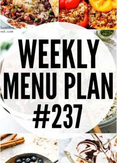 weekly menu plan 237 pin image