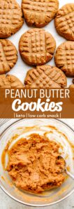 keto peanut butter cookies pinterest image collage