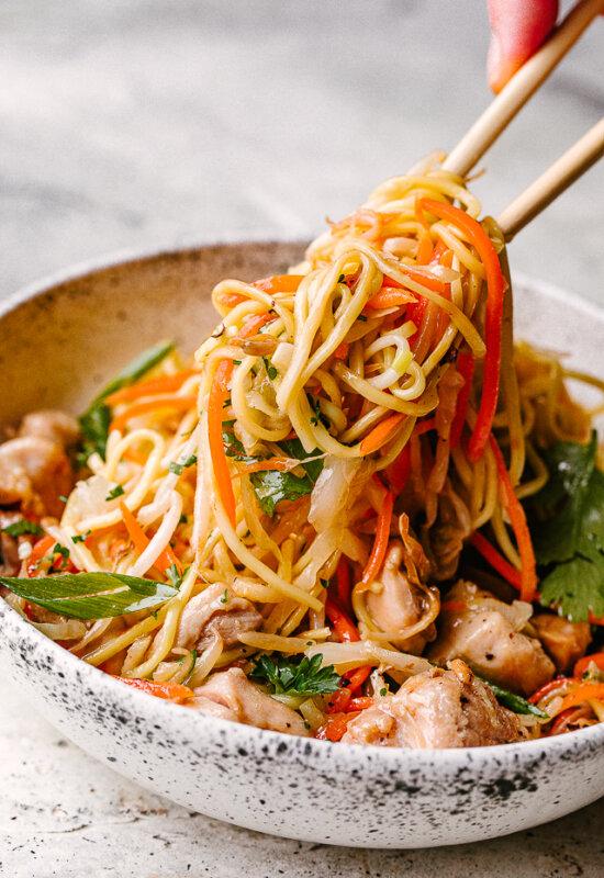 Chicken Chow Mein Served