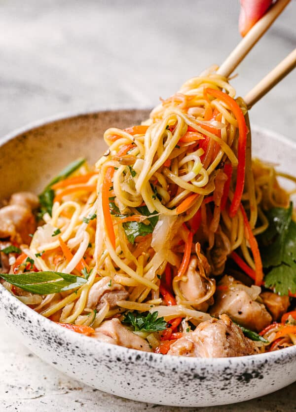 Chicken Chow Mein Served