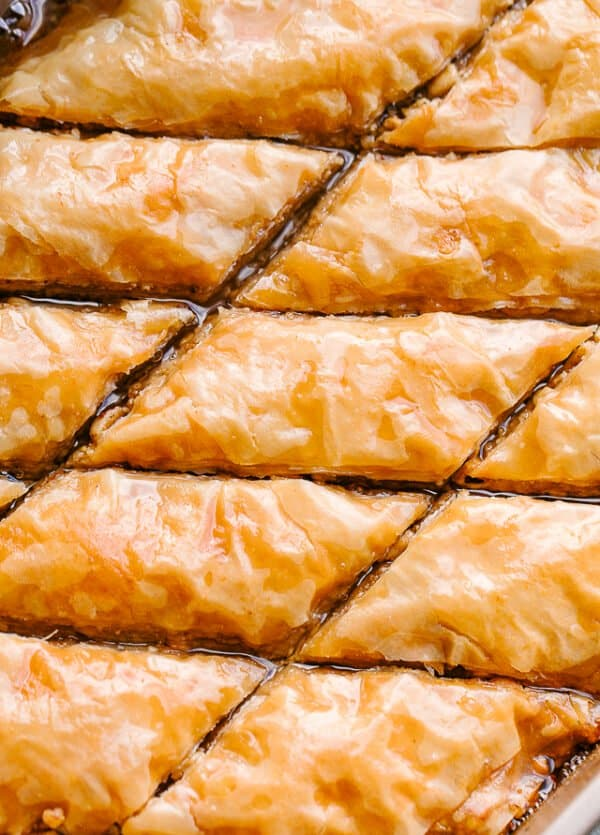 baklava soaking in syrup
