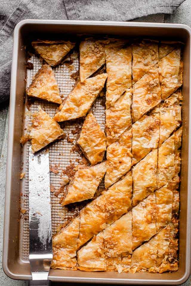 Baklava sliced and ready to serve.