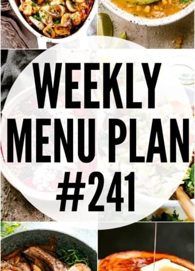 weekly menu plan 241 pin image