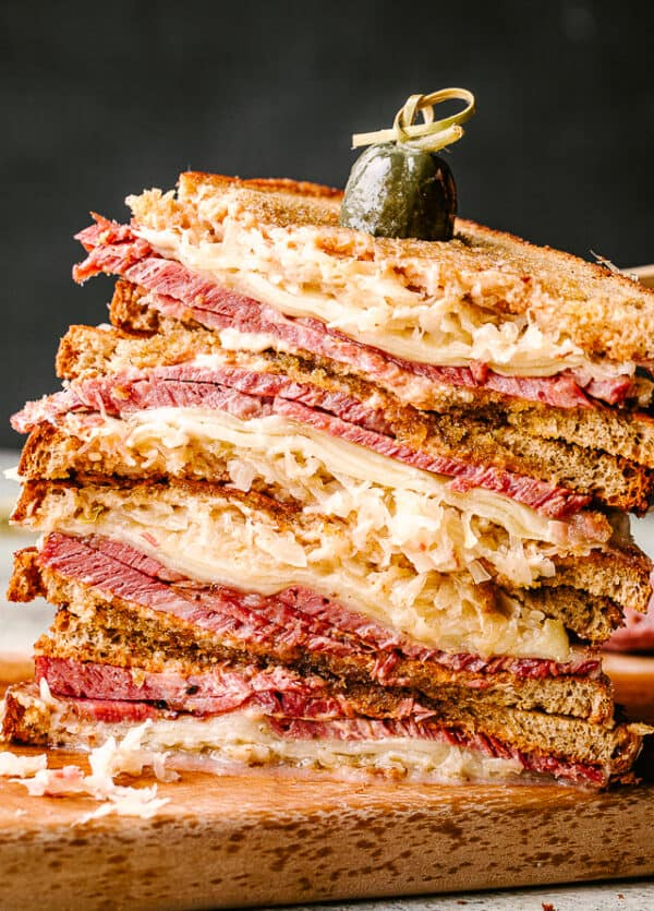 Stack of sliced reuben sandwich slices
