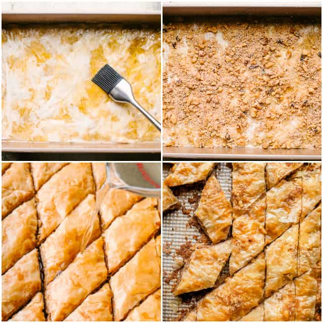 A picture collage that shows the steps for how to make Baklava.